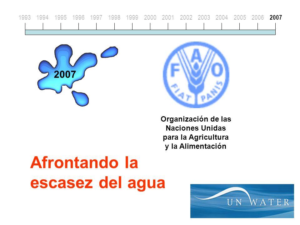 Organización de las Naciones Unidas para la Agricultura y la Alimentación Afrontando la escasez del agua 19931994199519961997199819992000200120022003200420052006 2007