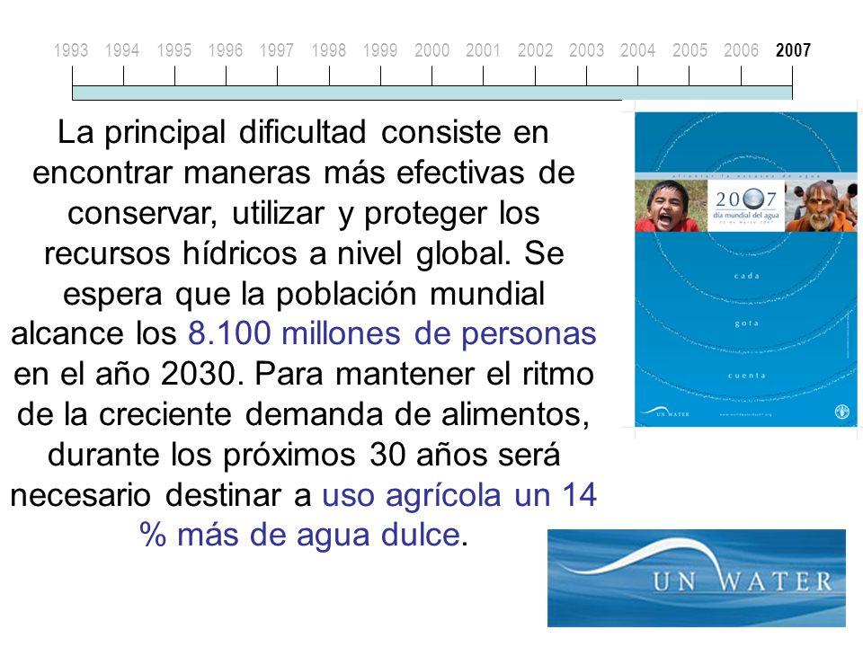 19931994199519961997199819992000200120022003200420052006 2007 La principal dificultad consiste en encontrar maneras más efectivas de conservar, utilizar y proteger los recursos hídricos a nivel global.