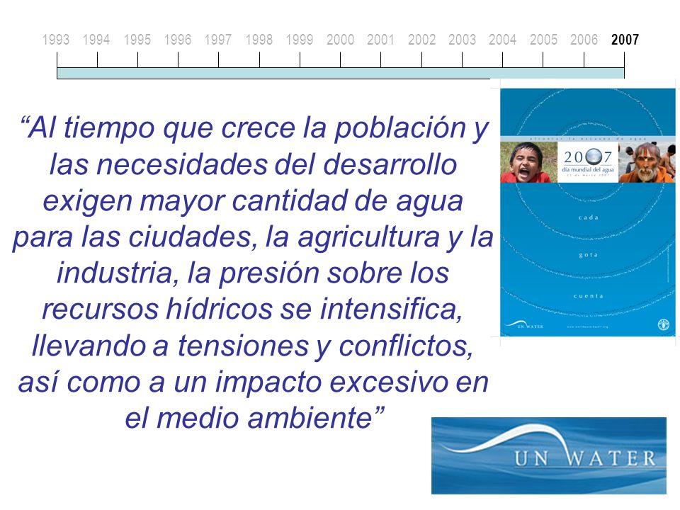 19931994199519961997199819992000200120022003200420052006 2007 Al tiempo que crece la población y las necesidades del desarrollo exigen mayor cantidad de agua para las ciudades, la agricultura y la industria, la presión sobre los recursos hídricos se intensifica, llevando a tensiones y conflictos, así como a un impacto excesivo en el medio ambiente