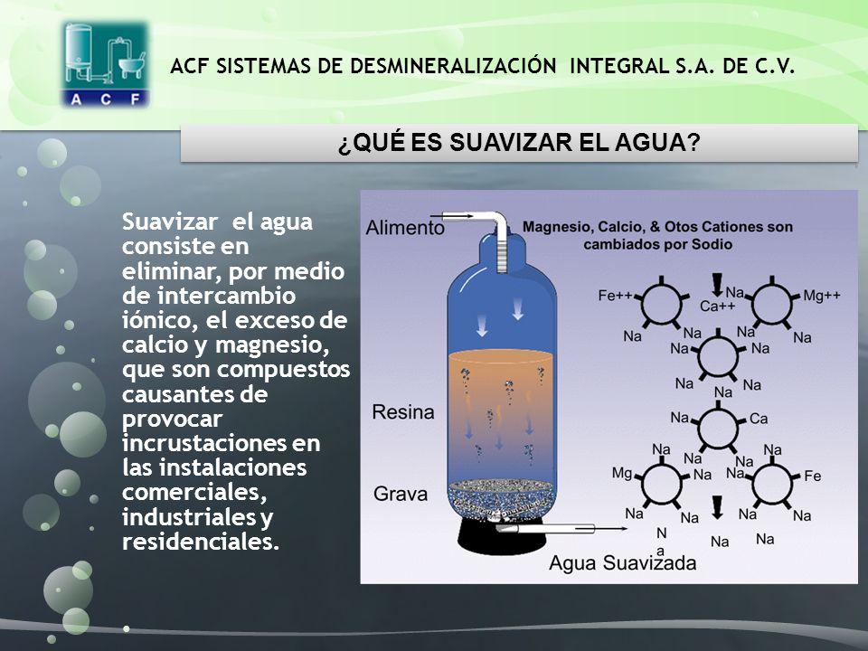 ACF SISTEMAS DE DESMINERALIZACIÓN INTEGRAL S.A. DE C.V. Suavizar el agua consiste en eliminar, por medio de intercambio iónico, el exceso de calcio y