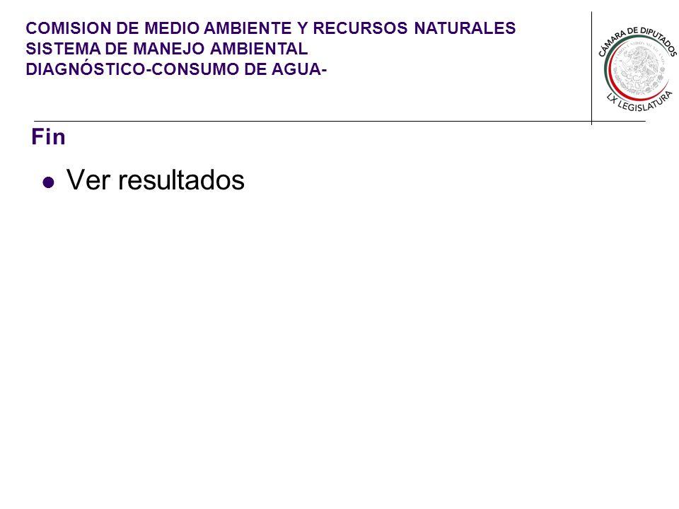 COMISION DE MEDIO AMBIENTE Y RECURSOS NATURALES SISTEMA DE MANEJO AMBIENTAL DIAGNÓSTICO-CONSUMO DE AGUA- Fin Ver resultados