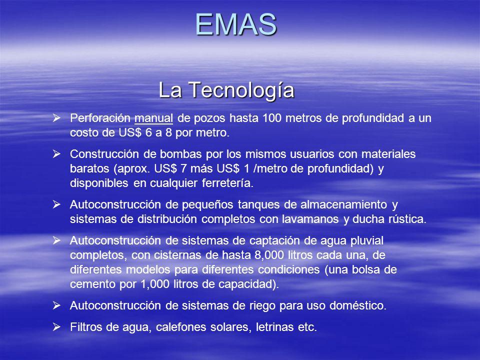 EMAS Perforación manual de pozos hasta 100 metros de profundidad a un costo de US$ 6 a 8 por metro. Construcción de bombas por los mismos usuarios con