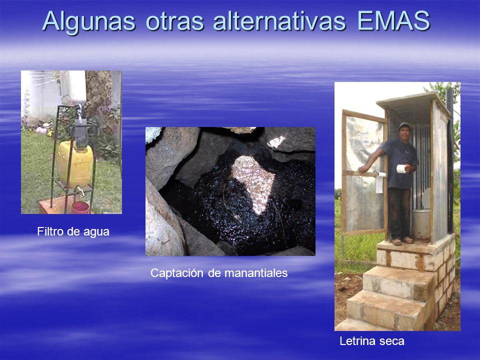 Algunas otras alternativas EMAS Letrina seca Filtro de agua Captación de manantiales