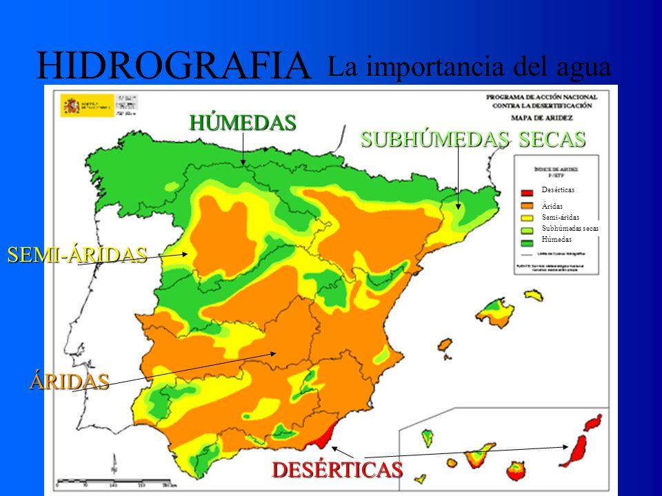 La importancia del agua Desérticas Áridas Semi-áridas Subhúmedas secas Húmedas ÁRIDAS DESÉRTICAS SEMI-ÁRIDAS SUBHÚMEDAS SECAS HÚMEDAS HIDROGRAFIA