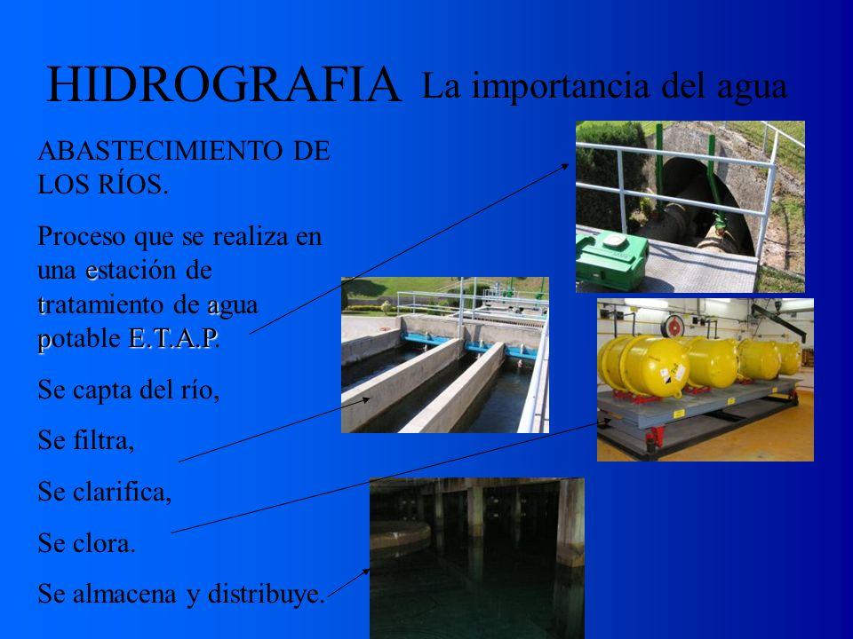 La importancia del agua ABASTECIMIENTO DE LOS RÍOS. e ta pE.T.A.P Proceso que se realiza en una estación de tratamiento de agua potable E.T.A.P. Se ca
