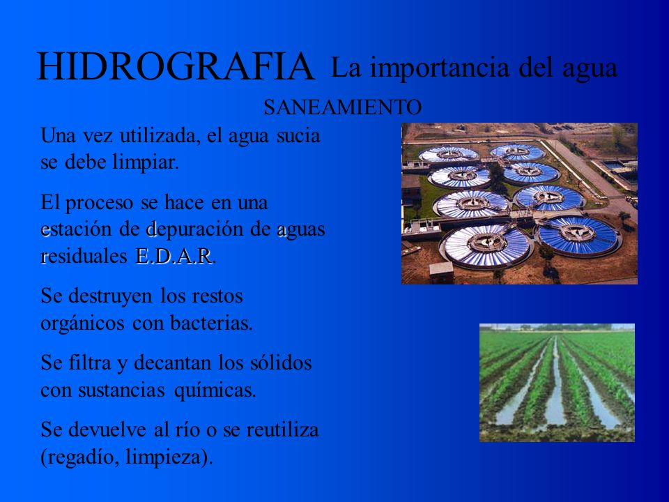 La importancia del agua E.T.A.P. E.D.A.R. HIDROGRAFIA