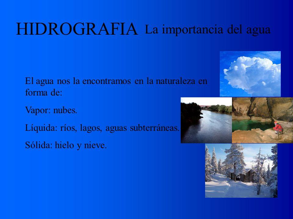 La importancia del agua El agua nos la encontramos en la naturaleza en forma de: Vapor: nubes. Líquida: ríos, lagos, aguas subterráneas. Sólida: hielo