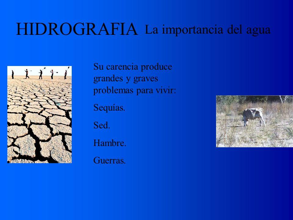 La importancia del agua HIDROGRAFIA Su carencia produce grandes y graves problemas para vivir: Sequías. Sed. Hambre. Guerras.