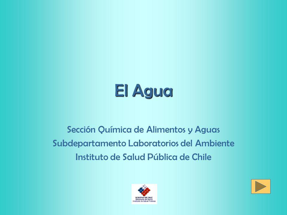 El Agua Sección Química de Alimentos y Aguas Subdepartamento Laboratorios del Ambiente Instituto de Salud Pública de Chile