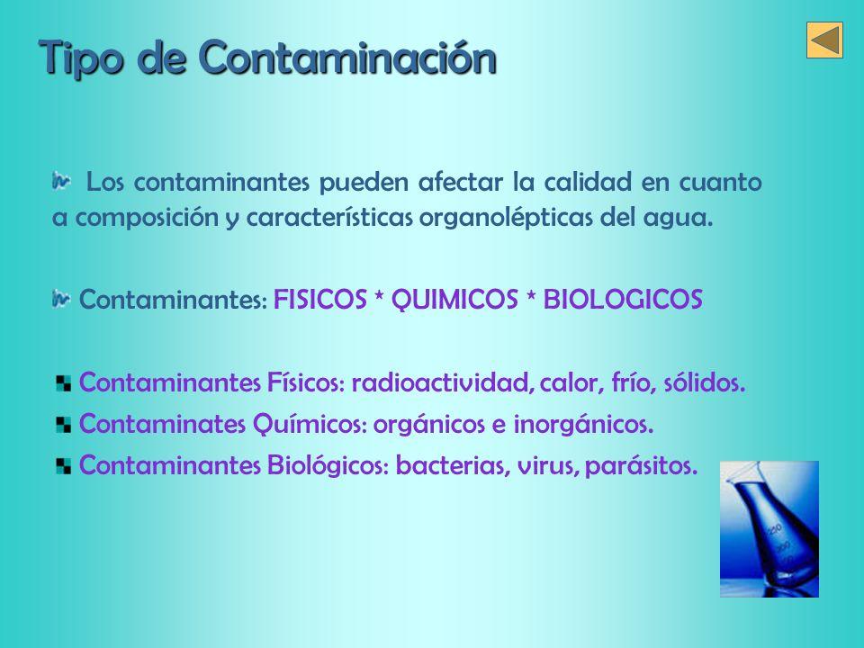 Tipo de Contaminación Los contaminantes pueden afectar la calidad en cuanto a composición y características organolépticas del agua. Contaminantes: FI