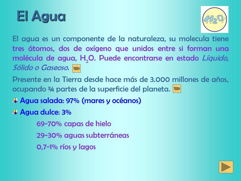 El Agua El agua es un componente de la naturaleza, su molecula tiene tres átomos, dos de oxígeno que unidos entre si forman una molécula de agua, H 2