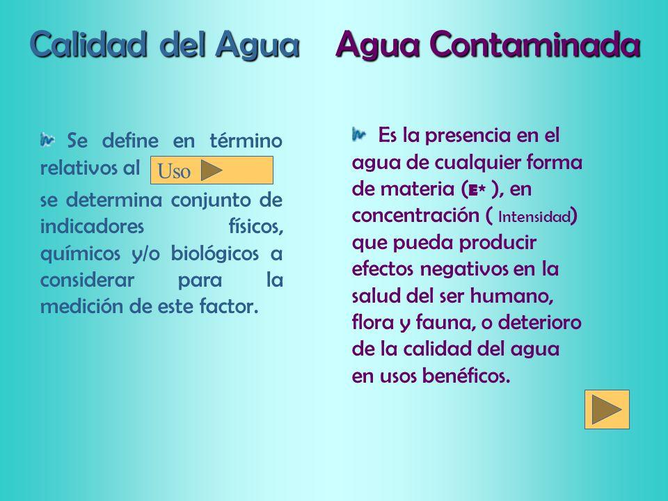 Calidad del Agua Es la presencia en el agua de cualquier forma de materia ( E* ), en concentración ( Intensidad ) que pueda producir efectos negativos