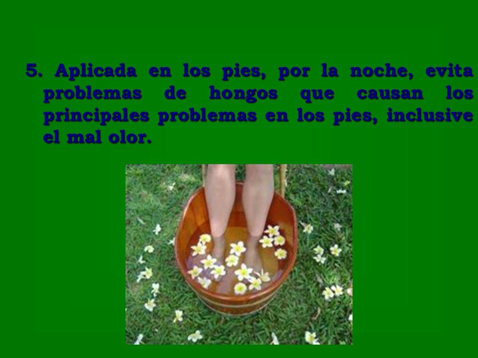 5. Aplicada en los pies, por la noche, evita problemas de hongos que causan los principales problemas en los pies, inclusive el mal olor.