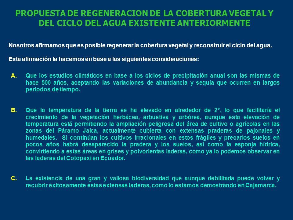 PROPUESTA DE REGENERACION DE LA COBERTURA VEGETAL Y DEL CICLO DEL AGUA EXISTENTE ANTERIORMENTE Nosotros afirmamos que es posible regenerar la cobertura vegetal y reconstruir el ciclo del agua.