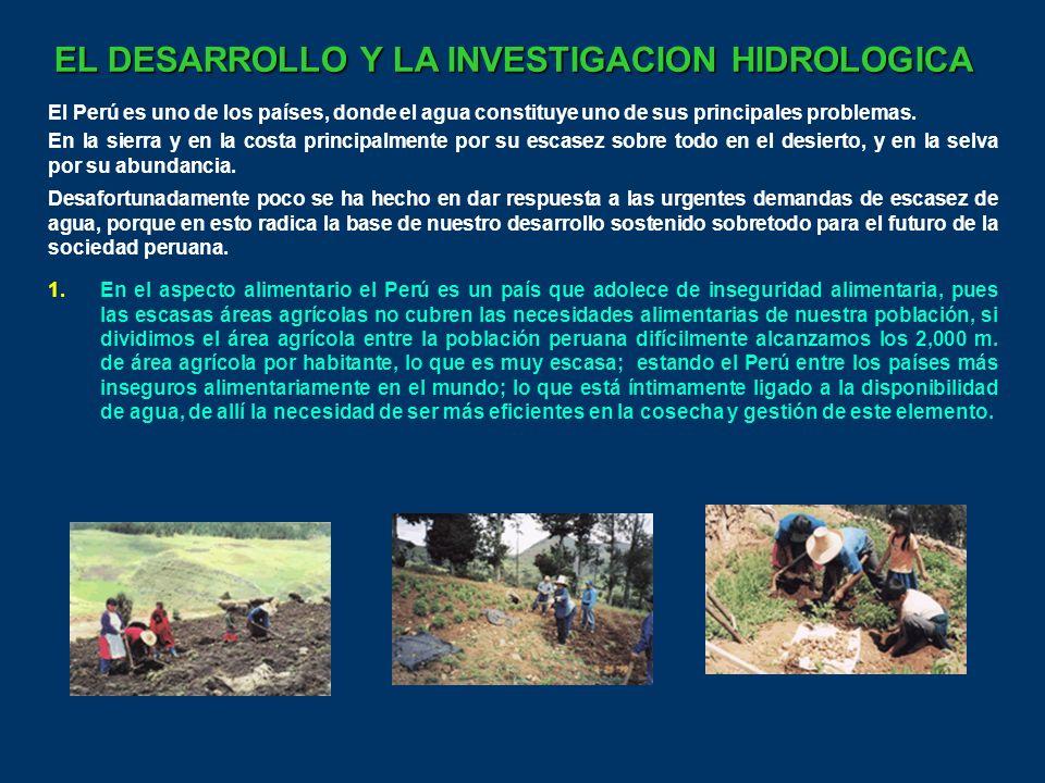 EL DESARROLLO Y LA INVESTIGACION HIDROLOGICA El Perú es uno de los países, donde el agua constituye uno de sus principales problemas.