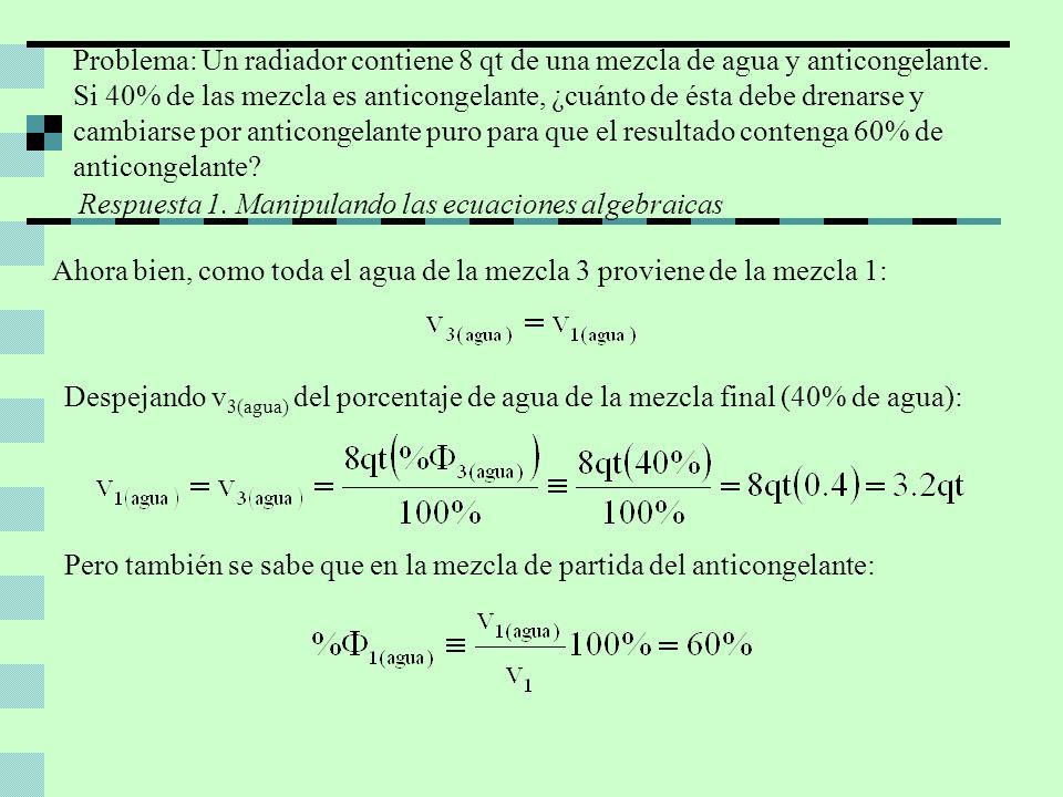 Por lo que, despejando v 1 de la ecuación anterior, se tiene: Finalmente, como lo que se drena es el complemento de este volumen a 8qt y eso debe ser lo que se pone de anticongelante puro: Por lo tanto, deben drenarse 2.6 qt de la mezcla de anticongelante al 40% y reemplazarse por 2.6 qt de anticongelante puro, para tener 8qt de anticongelante al 60%.