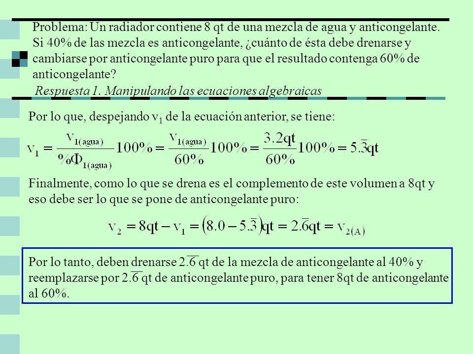 Por lo que, despejando v 1 de la ecuación anterior, se tiene: Finalmente, como lo que se drena es el complemento de este volumen a 8qt y eso debe ser