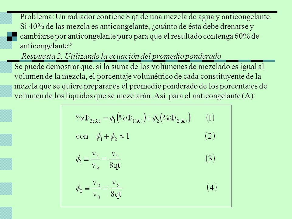 Despejando 1 de la ecuación (2) y sustituyendo en la (I): Sustituyendo los valores de los porcentajes de volumen que se conocen de las soluciones de partida y la final en la ecuación (1): Despejando 2 de la ecuación (II) : Finalmente, despejando v2 de la ecuación (4) y sustituyendo en ella la (III): Por lo tanto, deben drenarse 2.6 qt de la mezcla de anticongelante al 40% y reemplazarse por 2.6 qt de anticongelante puro para tener 8qt de anticongelante al 60%.
