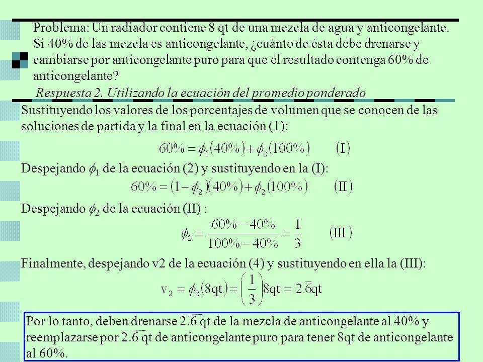 Despejando 1 de la ecuación (2) y sustituyendo en la (I): Sustituyendo los valores de los porcentajes de volumen que se conocen de las soluciones de p