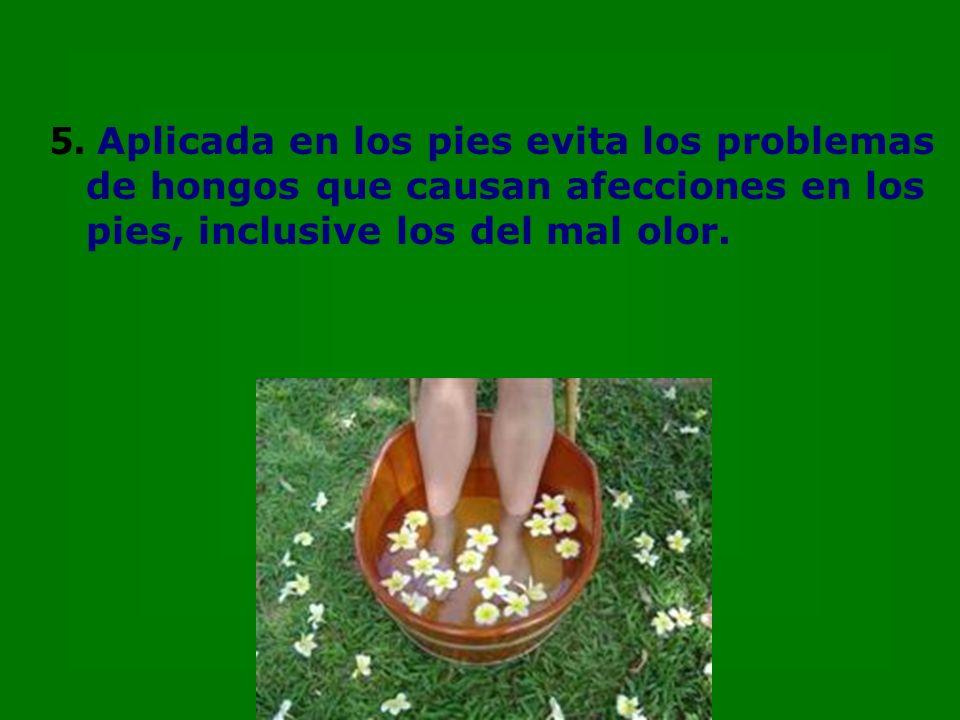 5. Aplicada en los pies evita los problemas de hongos que causan afecciones en los pies, inclusive los del mal olor.