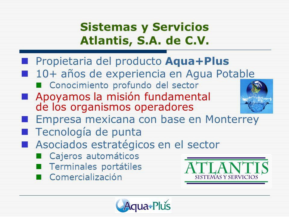 Sistemas y Servicios Atlantis, S.A. de C.V. Propietaria del producto Aqua+Plus 10+ años de experiencia en Agua Potable Conocimiento profundo del secto