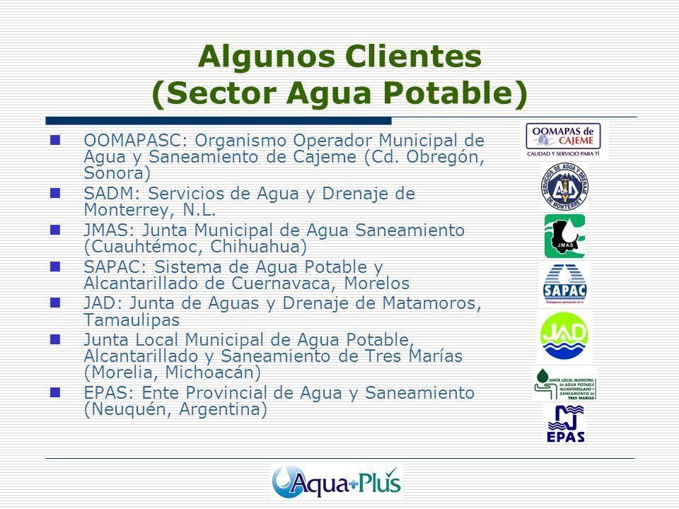 Algunos Clientes (Sector Agua Potable) OOMAPASC: Organismo Operador Municipal de Agua y Saneamiento de Cajeme (Cd. Obregón, Sonora) SADM: Servicios de