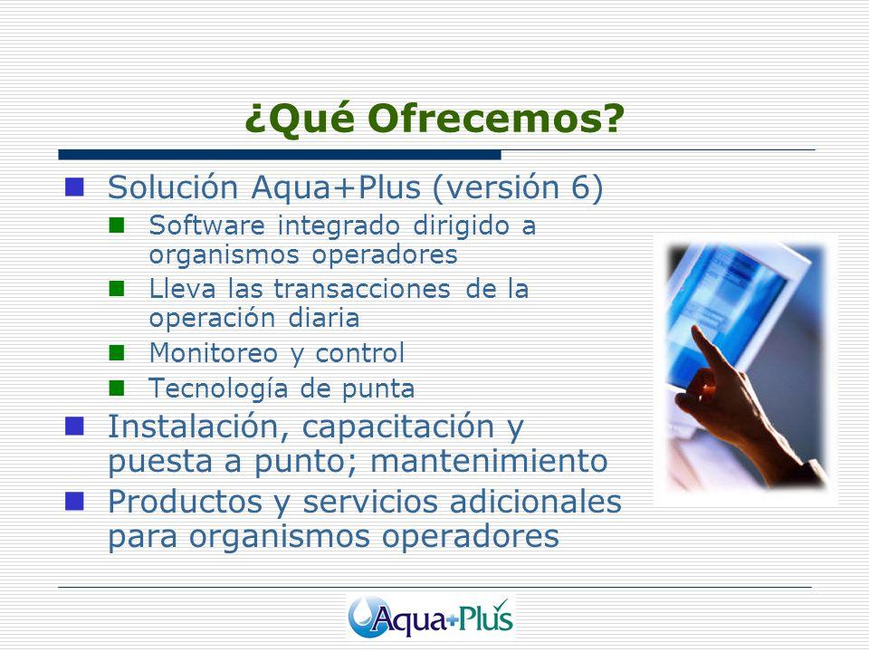 ¿Qué Ofrecemos? Solución Aqua+Plus (versión 6) Software integrado dirigido a organismos operadores Lleva las transacciones de la operación diaria Moni