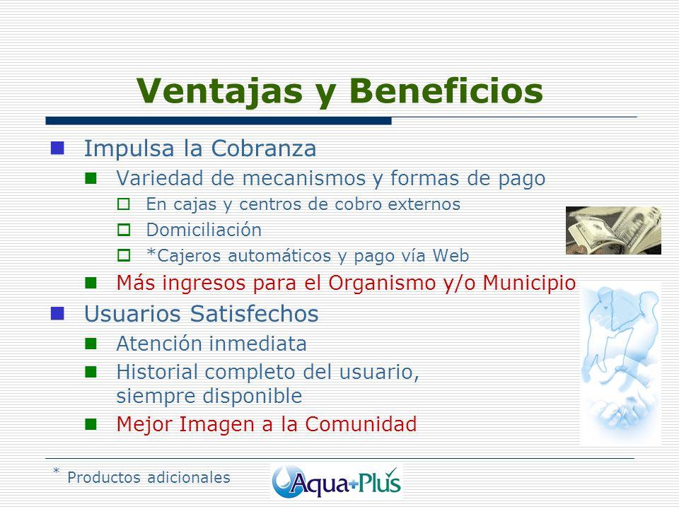 Ventajas y Beneficios Impulsa la Cobranza Variedad de mecanismos y formas de pago En cajas y centros de cobro externos Domiciliación * Cajeros automát