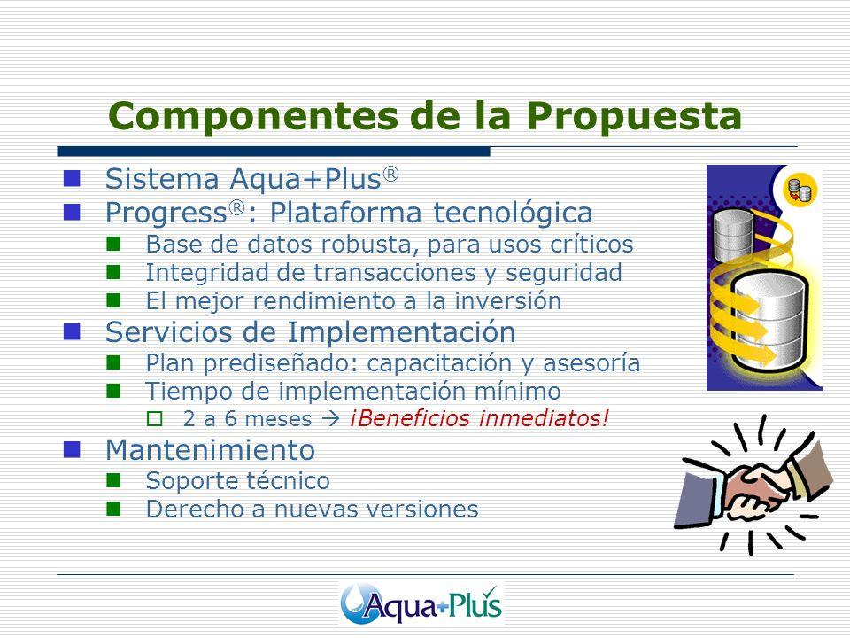Componentes de la Propuesta Sistema Aqua+Plus ® Progress ® : Plataforma tecnológica Base de datos robusta, para usos críticos Integridad de transaccio