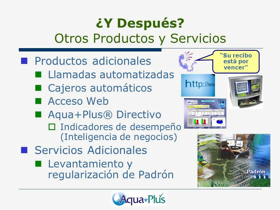 ¿Y Después? Otros Productos y Servicios Productos adicionales Llamadas automatizadas Cajeros automáticos Acceso Web Aqua+Plus® Directivo Indicadores d