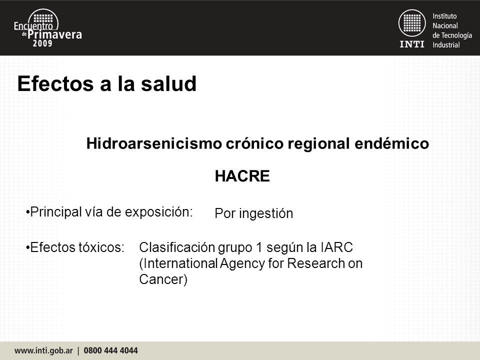 Efectos a la salud Principal vía de exposición: Efectos tóxicos: Por ingestión Hidroarsenicismo crónico regional endémico HACRE Clasificación grupo 1