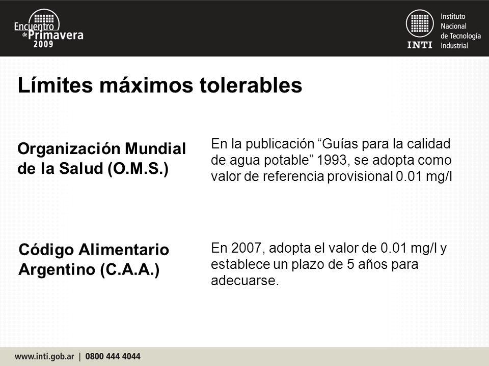 Límites máximos tolerables Organización Mundial de la Salud (O.M.S.) Código Alimentario Argentino (C.A.A.) En la publicación Guías para la calidad de