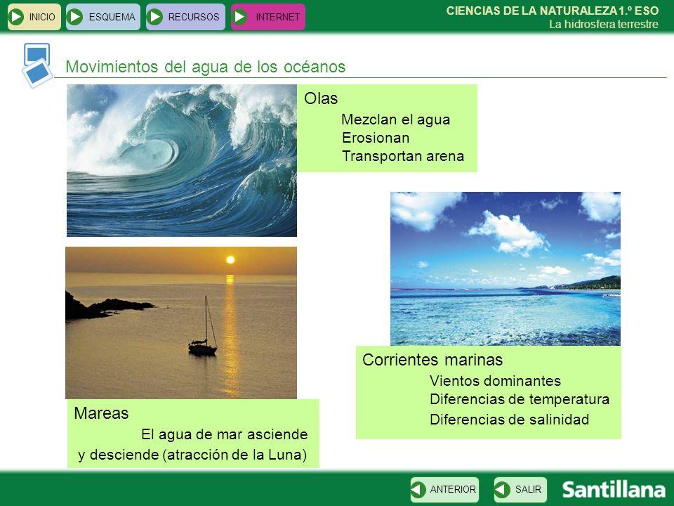 CIENCIAS DE LA NATURALEZA 1.º ESO La hidrosfera terrestre INICIOESQUEMARECURSOSINTERNET Movimientos del agua de los océanos SALIRANTERIOR Olas Mezclan