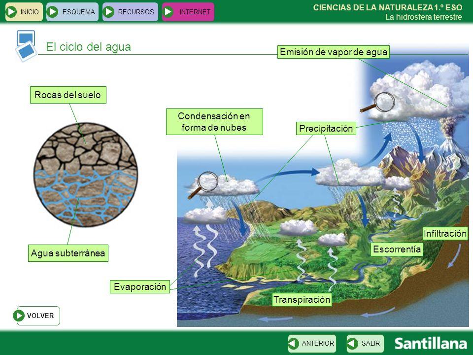 CIENCIAS DE LA NATURALEZA 1.º ESO La hidrosfera terrestre El ciclo del agua INICIOESQUEMARECURSOSINTERNET SALIRANTERIOR Emisión de vapor de agua Evapo