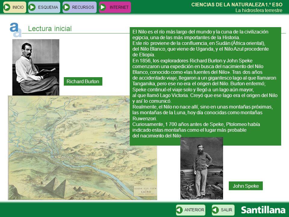 CIENCIAS DE LA NATURALEZA 1.º ESO La hidrosfera terrestre Richard Burton INICIOESQUEMARECURSOSINTERNET Lectura inicial El Nilo es el río más largo del