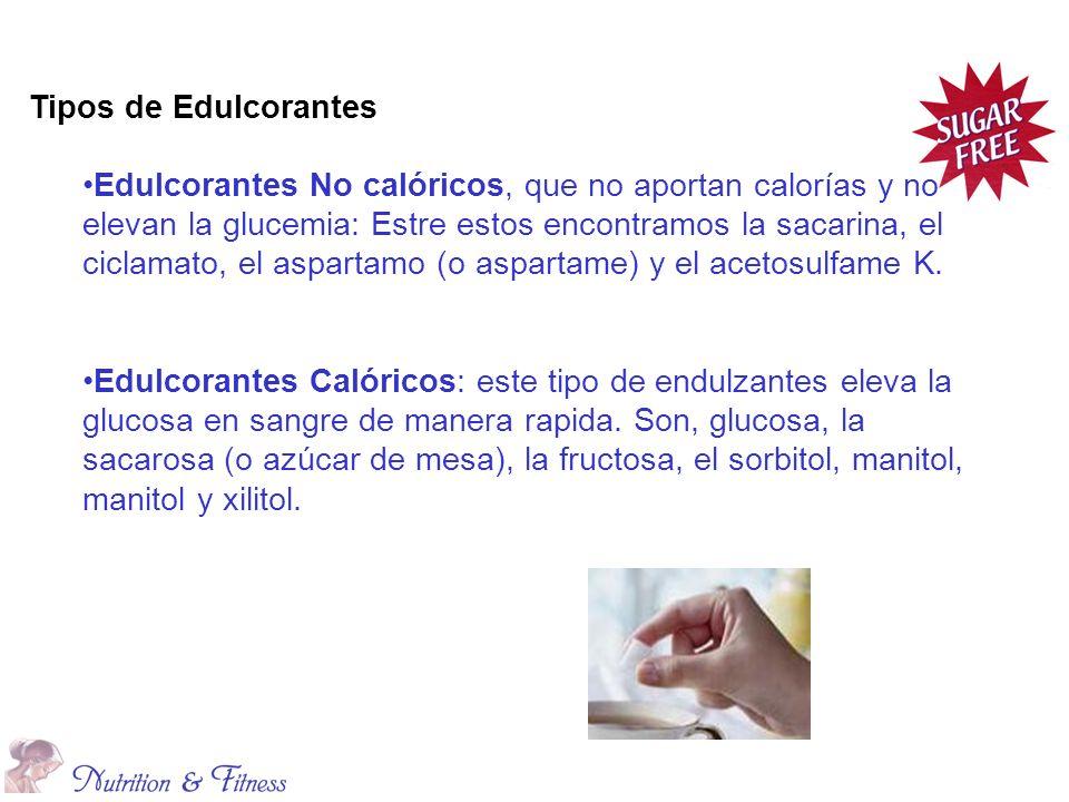 Tipos de Edulcorantes Edulcorantes No calóricos, que no aportan calorías y no elevan la glucemia: Estre estos encontramos la sacarina, el ciclamato, el aspartamo (o aspartame) y el acetosulfame K.