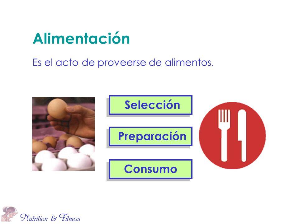 Alimentación Es el acto de proveerse de alimentos. Selección Preparación Consumo
