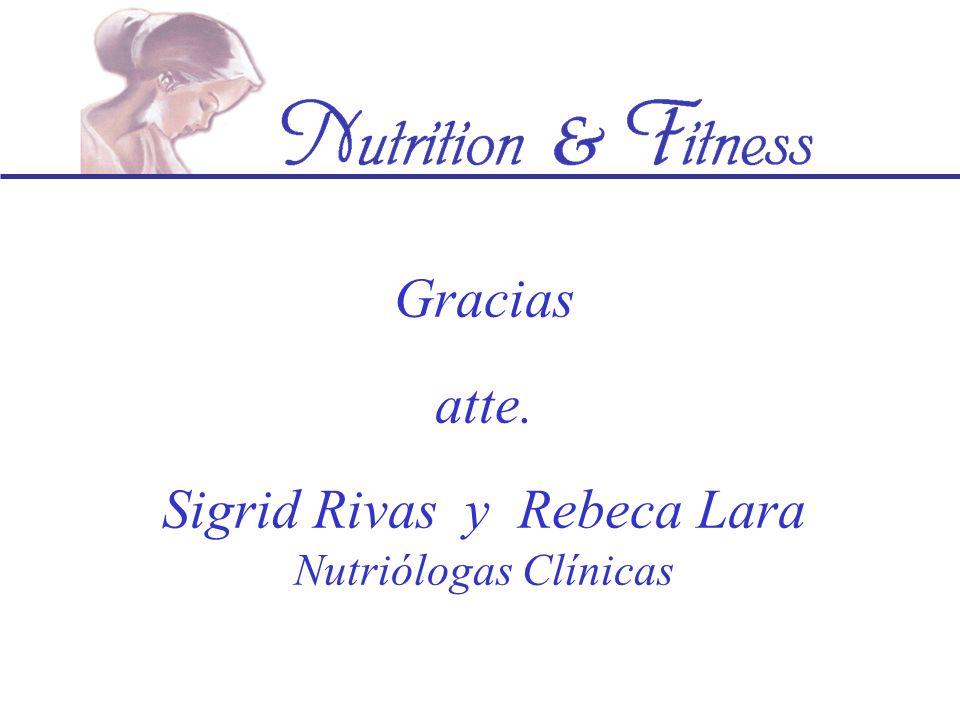 Gracias atte. Sigrid Rivas y Rebeca Lara Nutriólogas Clínicas