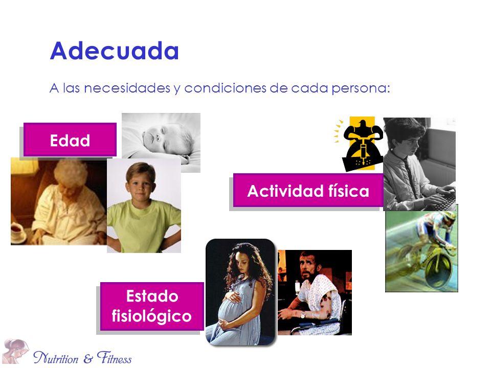 Adecuada A las necesidades y condiciones de cada persona: Edad Actividad física Estado fisiológico