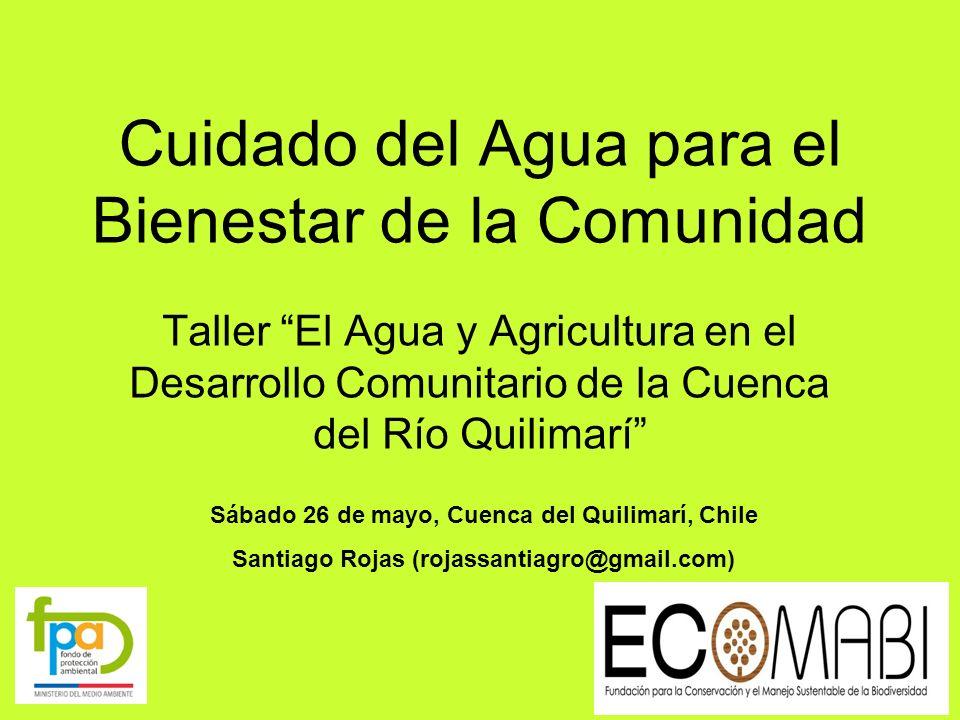 Cuidado del Agua para el Bienestar de la Comunidad Taller El Agua y Agricultura en el Desarrollo Comunitario de la Cuenca del Río Quilimarí Sábado 26