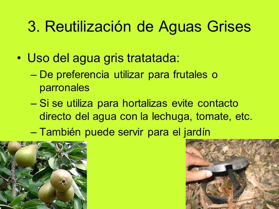 Uso del agua gris tratatada: –De preferencia utilizar para frutales o parronales –Si se utiliza para hortalizas evite contacto directo del agua con la