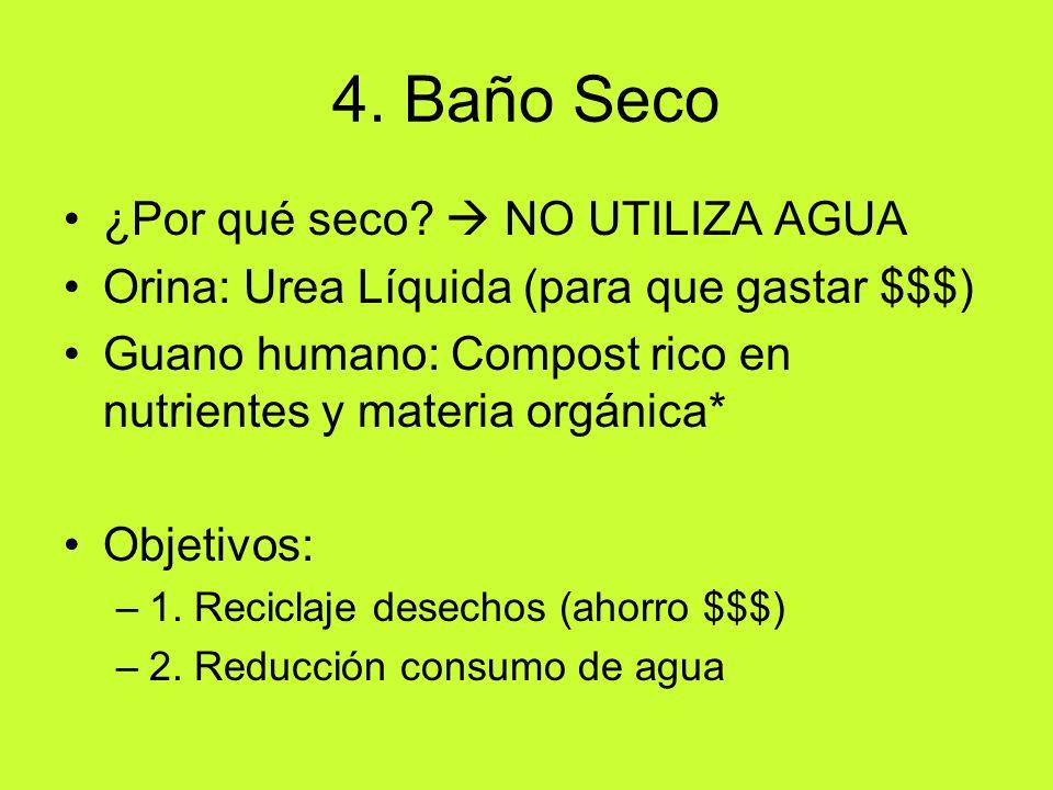 4. Baño Seco ¿Por qué seco? NO UTILIZA AGUA Orina: Urea Líquida (para que gastar $$$) Guano humano: Compost rico en nutrientes y materia orgánica* Obj
