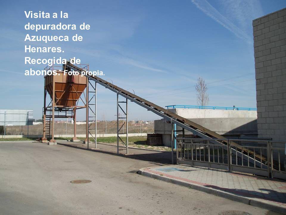 Visita a la depuradora de Azuqueca de Henares. Recogida de abonos. Foto propia.