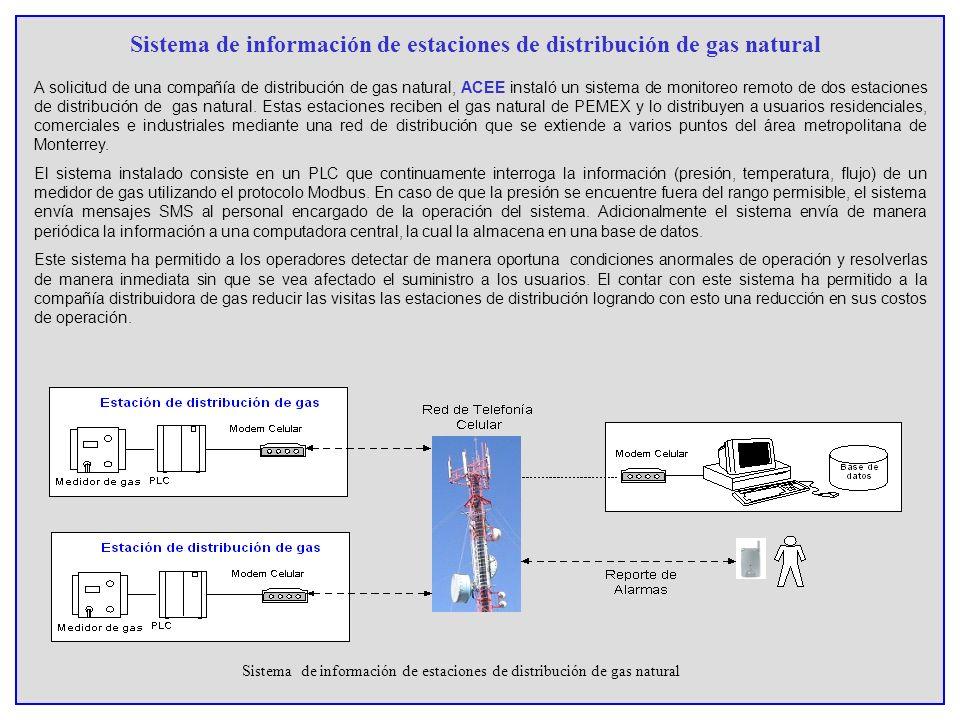 Sistema de información de estaciones de distribución de gas natural A solicitud de una compañía de distribución de gas natural, ACEE instaló un sistem