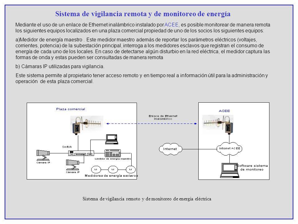 Sistema de vigilancia remota y de monitoreo de energía Sistema de vigilancia remoto y de monitoreo de energía eléctrica Mediante el uso de un enlace d