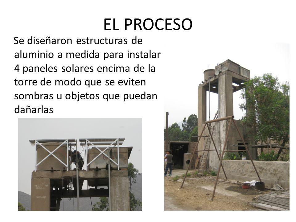 EL PROCESO Se diseñaron estructuras de aluminio a medida para instalar 4 paneles solares encima de la torre de modo que se eviten sombras u objetos que puedan dañarlas