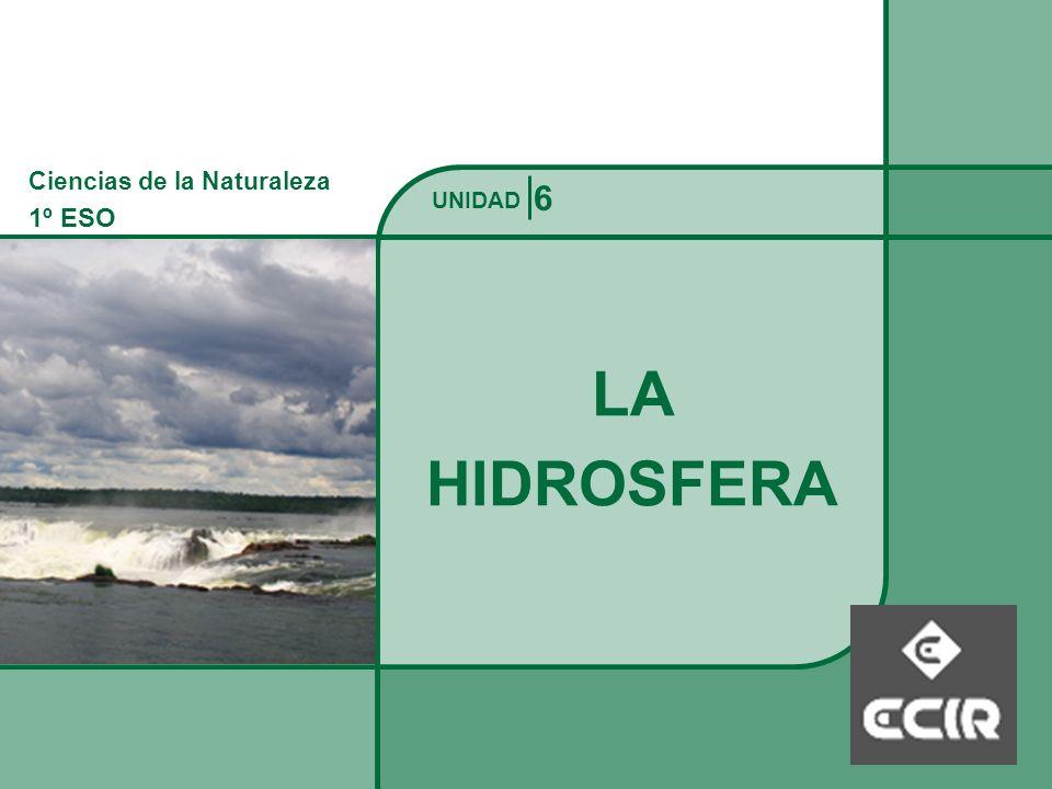Ciencias de la Naturaleza 1º ESO LA HIDROSFERA La Hidrosfera UNIDAD Es un manto discontinuo de agua que ocupa el 70% de la superficie del planeta, sólo alrededor del 1% del agua de la hidrosfera es fácilmente utilizable para las necesidades humanas.