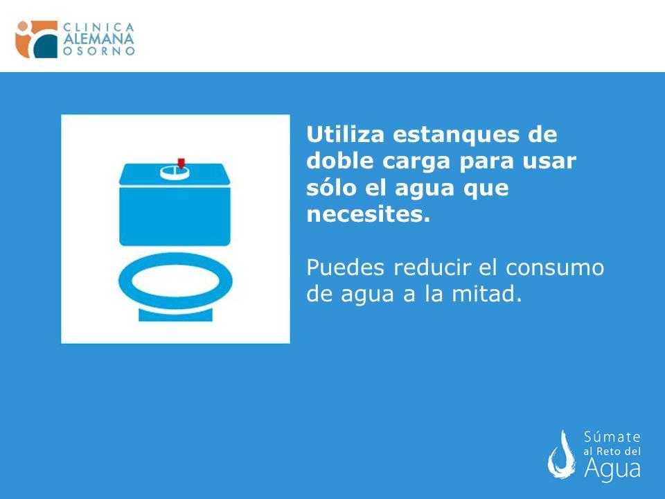 Utiliza estanques de doble carga para usar sólo el agua que necesites. Puedes reducir el consumo de agua a la mitad.