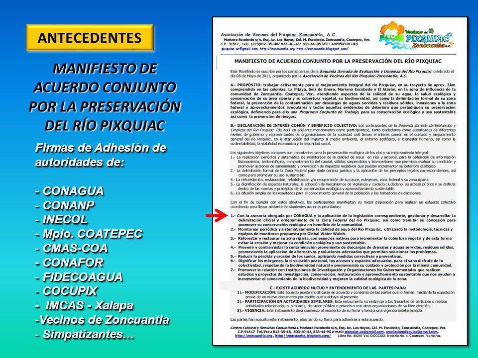 ANTECEDENTES MANIFIESTO DE ACUERDO CONJUNTO POR LA PRESERVACIÓN DEL RÍO PIXQUIAC Firmas de Adhesión de autoridades de: - CONAGUA - CONANP - INECOL - Mpio.