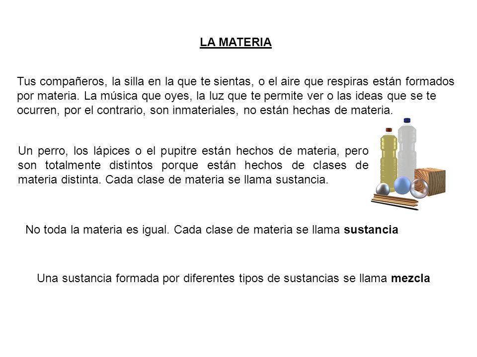 TIPOS DE SUSTANCIAS Sustancia Pura: sustancia (materia) formada por átomos todos iguales o moléculas todas iguales.